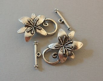 Large Silver Flower Toggle Clasp