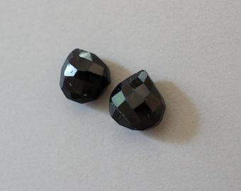 Rough Cut Faceted Black Garnet Pear 12mm