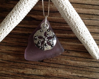 Lavender Seaglass Pendant with Sand Dollar Charm