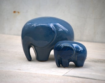 Elephant  decor ceramic large  figurine in stormy blue gray set of two
