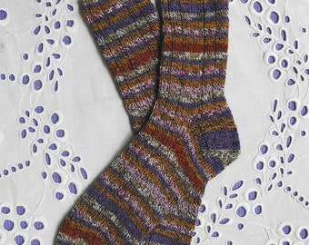 Ladies Hand Knit Wool Socks - Med-Lge - Multi Stripes Marled Look with Rust Purple Pink Superwash Wool