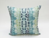 Navy Blue and Green Ikat Leopard  Print Decorative Throw Pillow Cover ONE All Sizes Mali Frost Birch