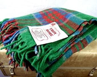 Vintage Wool Troy Robe Plaid Blanket Throw - NWT