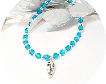 Aqua Anklet, Shell Anklet, Sea Shell Ankle Bracelet, Blue Anklet, Bridal Anklet, Beach Jewelry, Beach Wedding, Something Blue