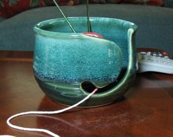 Free Shipping-Yarn Bowl in Emerald Isle Green