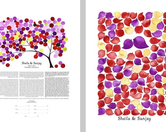 Trilingual Ketubah & matching Wedding Guest Book art Print SET - Tree of Life and Bird Cluster