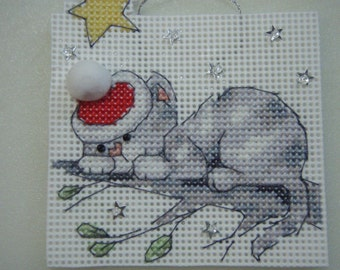 Cross Stitched Christmas Cat On A Branch #3 Ornament Completed
