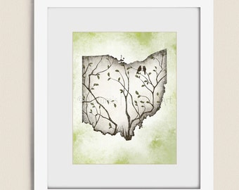 11 x 14 Ohio State Art, Ohio State Wall Art, Earthy Colors Tree Print, Ohio State Print, Ohio Wall Decor, Ohio Art Print (270)