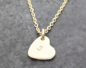 Personalized Gold Heart Necklace - Tiny and Dainty Solid Gold Initial Necklace