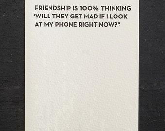 friendship/phone. letterpress card. #907
