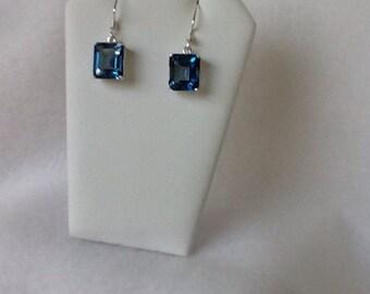 Topaz Drop Earrings Sterling Silver - Blue Mystic