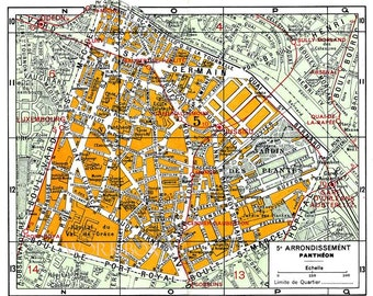 Printable street map of Sorbonne, Latin Quarter, Rive Gauche of Paris.  Vintage map of 5th 5e arrondissement.  DIY Digital download.