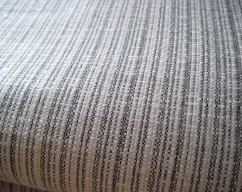 Vintage fabric, gray and white stripes, 3 yards, double knit home decor, pillows, seat cushion, grey and white grey ticking faux pinstriping