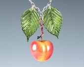 Cherry Necklace with yellow cherry glass sculpture and glass leaves on adjustable chain.  Glass lampwork beads on fruit jewelry.