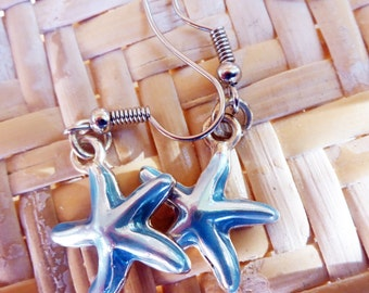 Silver/Blue Starfish Charm Earrings