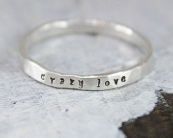 personalized Valentine's Day gift for her, Name Stacking Ring, Fine Silver Name Stacked Ring, Personalized Hand Stamped Ring