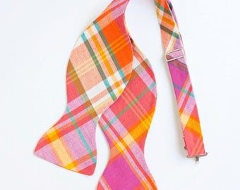 The Beau- men's fuchsia, orange, and teal organic madras plaid freestyle self-tie bow tie (comes with tying instructions)