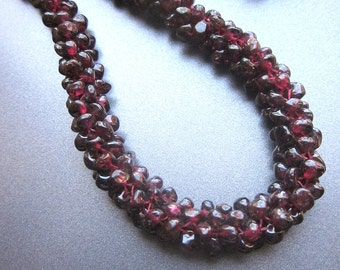 Garnet Beaded Necklace Gemstone Jewelry