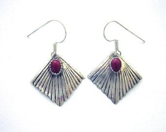 Vintage Coral Sterling Silver Dangle Earrings