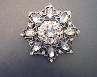 Vintage Rhinestone Brooch Large Crystal Pin Wedding Coat Accessory Rhinestone Jewelry
