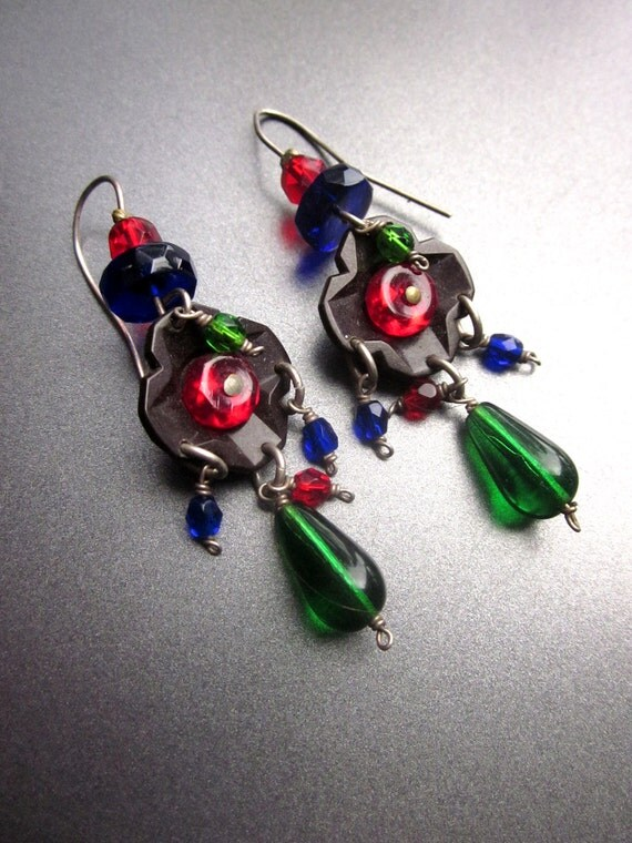 Vintage Multi Colored Glass Dangle Earrings