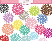 ON SALE Flowers clip art - summer flowers clip art, instant download, Summer Blooming Flower, Digital clip art, flowers pink, blue, yellow