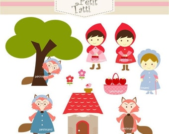 ON SALE, Red Riding Hood - Digital clip art - instant download clip art