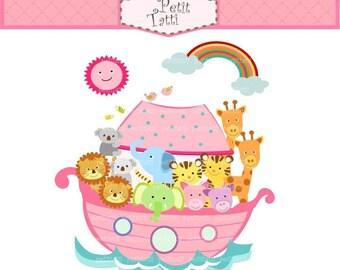 ON SALE clip art Noah's ark clip art, noah, Noah's ark scene, noah ark , cute animals clip art,  instant download