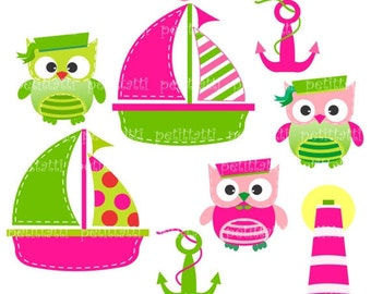 ON SALE owl clip art - Digital clip art  for all use, Sailboat and owls (3), hot pink and green clip art, INSTANT Download Digital clip art
