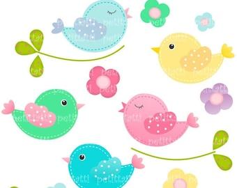 ON SALE bird clip art , Digital clip art for all use, Birds Birds, instant download
