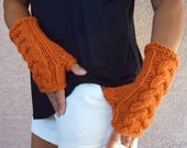 Chunky cable knit arm warmers pumpkin orange gift for her Fall Thanksgiving