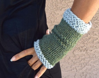 Chunky arm warmers moss green gray fingerless gloves gift for her gift under 35 Christmas gift for friend