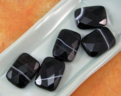 Black Agate 25mm Rectangle Beads 60% off, qty 5