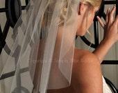 Short Veil - Shoulder Length Wedding Veil, Soft Cut Veil, with Raw Cut Edge - White, Diamond White, Light Ivory, Ivory or Champagne
