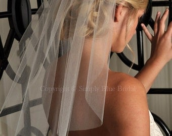 Short Veil - Shoulder Length Wedding Veil, Soft Cut Veil, with Raw Cut Edge - White, Diamond White, Light Ivory, Ivory, Champagne or Blush