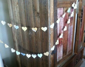 vintage map hearts and string garland