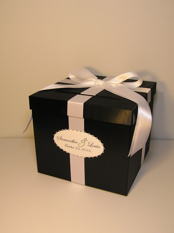 Black And White Wedding Card Box Gift Card Box By Bwithustudio