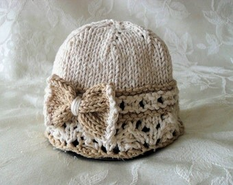 Baby Hats Knitting Knit Baby Cloche Knitted Lace Knitted Baby Hat with Bow Children Clothing Cotton Yarn Baby Girl Clothing