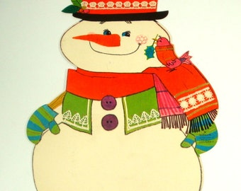 Vintage Snowman Die Cut, Christmas Decoration,  Holiday Wall Decor, Black Top Hat, Red Bird, No. 2  (290-15)