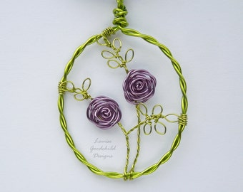 Lilac Rose pendant, wire rose pendant, flower jewelry, wire rose jewelry, rose pendant MADE TO ORDER