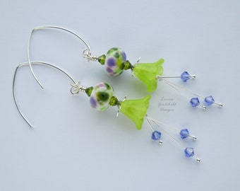 Green flower earrings, green and purple earrings, silver flower earrings, nature inspired, organic jewelry