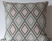 Aqua geo decorative pillow cover - Premier Prints Annie - Eaton Blue Oatmeal accent pillow cover