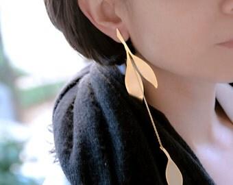 Extra Long Earring | Gold Single Earring | Leaf Earring | Statement Earring | Boho Long Earring | Large Dangle Earring | Gift For Her