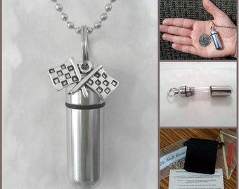 "COMPLETE SET - Cremation Urn & Vial on 24"" Necklace - with Racing Flags -  Custom Hand Assembled....w/Velvet Pouch and Fill Kit"