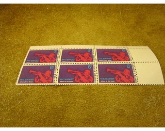 1969 W. C. Handy – Father of the Blues -  6 Cent - Vintage US Postage Stamps – Block of 6 Unused Stamps