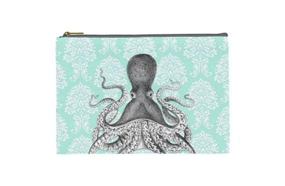 Vintage Inspired Cosmetic Case / Makeup Bag / Clutch - Octopus on Damask