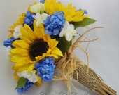 Sunflower Bouquet with blue Hyacinth, Burlap and Straw wrapping, Rustic, Woodland wedding, FFT original design, Made to Order