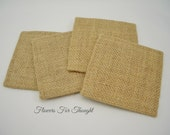 Plain Burlap Coasters, Set of 4, FFT Original, Heavy Duty Reinforced Made to Last and Very Absorbent, Made to Order