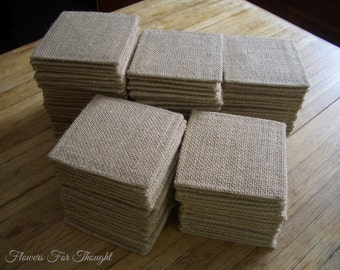 "4"" Burlap Coasters, Made to Order, for Home, Office, Wedding, Restaurant, Housewarming or Hostess Gift 4.50 US Dollars each"