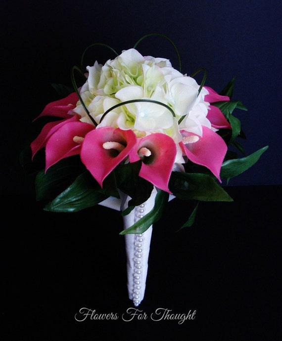 Pink Calla Lily and White Hydrangea Bridal Bouquet,Silk Flowers, Wedding Posy with Pearls, FFT original design, Made to order